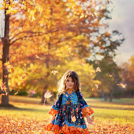 Let the leaves Fall by Darya Morreale - Babies & Children Child Portraits ( girl, autumn, trees, leaves, falling leaves )