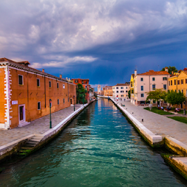 by Philip Arno - City,  Street & Park  Skylines ( clouds, venice, canal )
