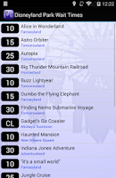Screenshot of Disneyland Wait Times