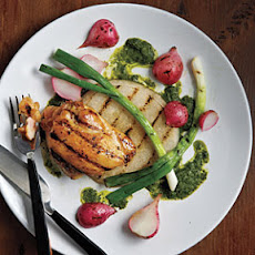 Grilled Jicama, Radishes, Scallions, and Chicken with Asian-Style