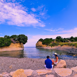 together by Gabriel Munteanu - People Couples ( love, greece, amour, corfu, canal )