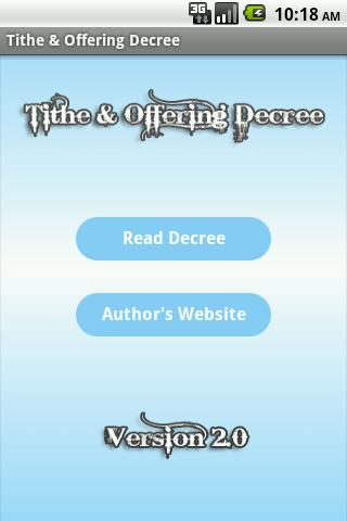 Tithe Offering Decree