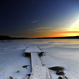 by Bente Agerup - Landscapes Sunsets & Sunrises ( piers, sunset, ice, snow, lake )