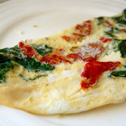 Spinach and Oven-Roasted Tomato Omelet