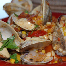 Grilled or Steamed Clams with Corn and Linguica