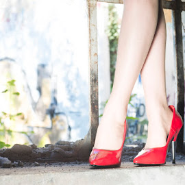 Red Shoes by Janet Schulz - People Fashion ( shoes, girl, red, artistic, object )