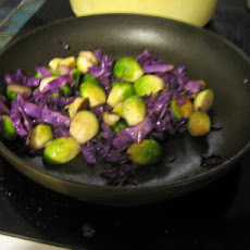 Sauteed Brussels Sprouts and Red Cabbage