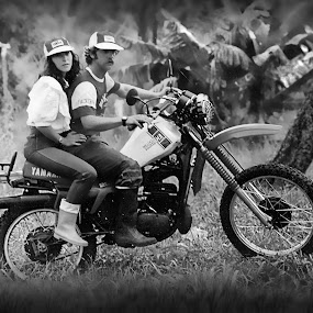 Riding on the 80's by Pablo Barilari - Black & White Portraits & People ( motocross, motorcycle, riders )
