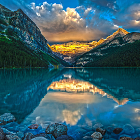 Lake Louise sunrise by Doug Clement - Landscapes Travel ( nature, snow, louise, summer, lake, travel, sunrise, landscape, golden hour, sunset,  )