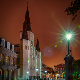 Jackson Sqaure View 1 by Sheldon Anderson - City,  Street & Park  Street Scenes ( new orleans, night photography, louisiana, reflections, cathedral, rain )