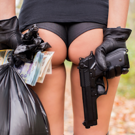 the bank job by Bogdan T. Fotografie - People Body Parts ( body, concept, girl, rich, money, ass, part, people, gun )