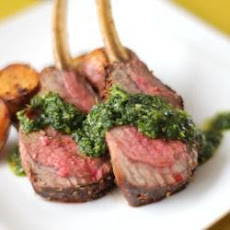 Spice Crusted Roast Rack Of Lamb With Coriander And Mint Sauce
