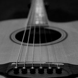 Dad's Guitar by Ashley Alandt - Artistic Objects Musical Instruments ( black and white, acoustic, strings, guitar, close up )