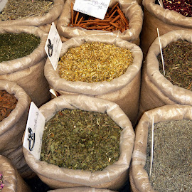 Spice Sacks by Jody Frankel - Food & Drink Ingredients ( market, sacks, israel, spices, middle east )