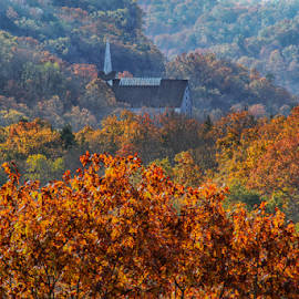Church in a Valley by Michael Buffington - Buildings & Architecture Places of Worship ( orange, red, church, exterior, autumn, green, forest, valley, ozarks, yellow, natural )