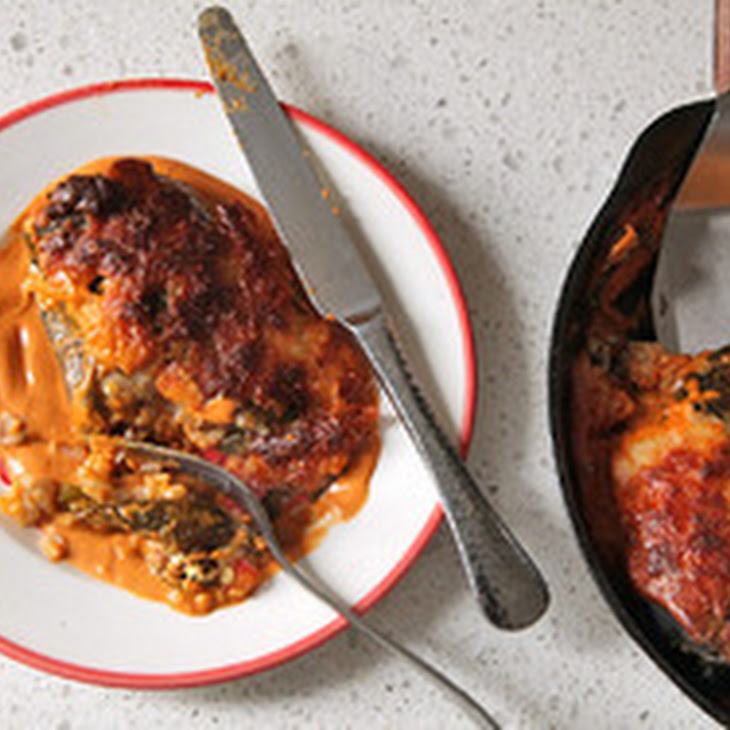 Stuffed Roasted Poblano Peppers with Cashew-Chipotle Sauce Recipe ...