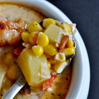 Fresh Corn Chowder with Bacon + Barbecue Shrimp