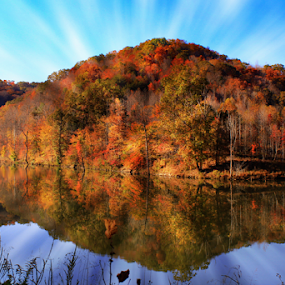 Autumn in the hills of West Virginia by Dawn Vance - Landscapes Mountains & Hills ( hill, mountain, autumn, color, trees, lake )