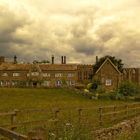 Bolton Abbet by Ron Jnr - Buildings & Architecture Architectural Detail ( grass, priory, yorkshire dales, bolton priory, windows, overcast, old building, field, fence, building remains, bolton abbey, dry stone walling, monasteries, cloud, flowers, abbey )