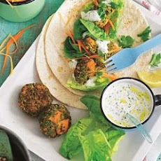 Sweet Potato And Pea Falafel With Coriander Yoghurt Sauce