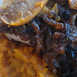 Apple Onion Cinnamon Pork Chops over Crockpot Butternut Squash