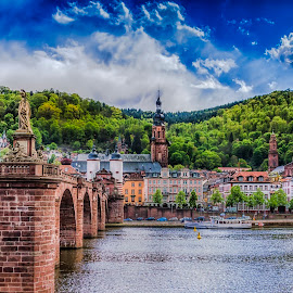 by Ole Steffensen - City,  Street & Park  Historic Districts ( karl-theodor, neckar, forrest, heidelberg, germany, bridge )