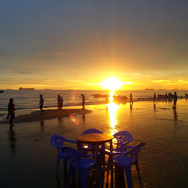 The Sunset by Jubair Chowdhury - Landscapes Beaches ( chairs, sunset, beach, table, people )