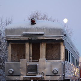 Ghost train by Dorothy Siravo - Transportation Trains ( train tracks, moon, train car, night, abandoned vehicle,  )