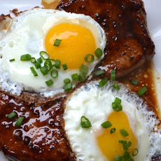 Bourbon Glazed Pork Chops and Fried Eggs