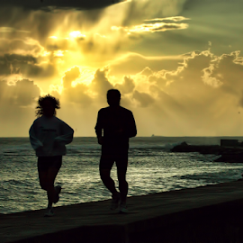 Jogging by Antonio Amen - Sports & Fitness Other Sports ( jogging, sunset, woman, lighthouse, sea, man )