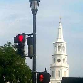 Charleston Streets by Valerie Bombino - Buildings & Architecture Public & Historical ( landscape skyline, street scene, church steeple, traffic lights, charleston street scene )