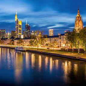 Nightscape of Frankfurt by Charles Ong - City,  Street & Park  Night ( water, reflection, night lights, boat, nightscape, city, lights, frankfurt, blue, lamp, germany, long exposure, night, street lights,  )