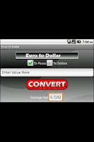 Screenshot of Euro to Dollar