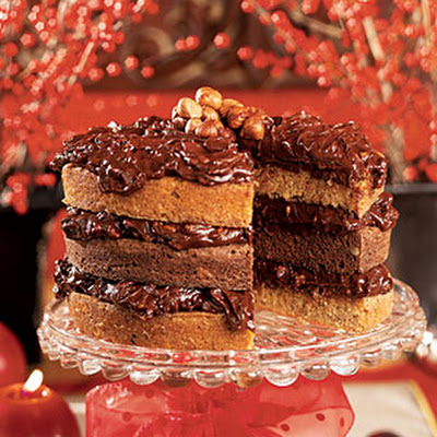 Double-Nut Drenched Chocolate Cake