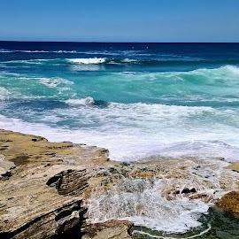 Rocky Shore  by Kamila Romanowska - Instagram & Mobile Other ( water, nature, blue, australia, ocean, rocks, sydney )