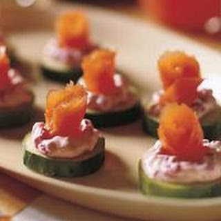Cucumber Rounds with Beet Cream and Smoked Salmon