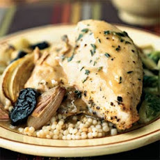 Roasted Chicken with Dried Plums and Shallots