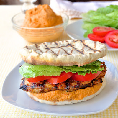 Moroccan Marinated Grilled Chicken Flatbread Burgers with Red Pepper Hummus