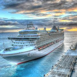 Leaving Port by Jim Zabroski - Digital Art Things ( cruiseship, st maarten, hdr, ventura, leaving port )