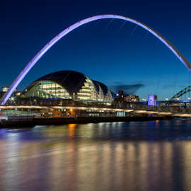 Millennium archway by Ian Clamp - Buildings & Architecture Bridges & Suspended Structures ( sage, tyne, quayside, millennium bridge, gateshead, night, north east, newcastle, baltic, river )