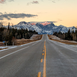 highway by Alan Paone - Landscapes Mountains & Hills ( icefeild parkway, mountains, highway, alberta, sunset, road trip, travel, landscape, banff, explorealberta,  )