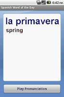 Screenshot of Spanish Word of the Day