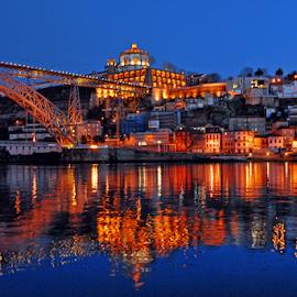 City of Gaia - Porto by Antonio Amen - City,  Street & Park  Night ( gaia, river douro, luiz i, porto )