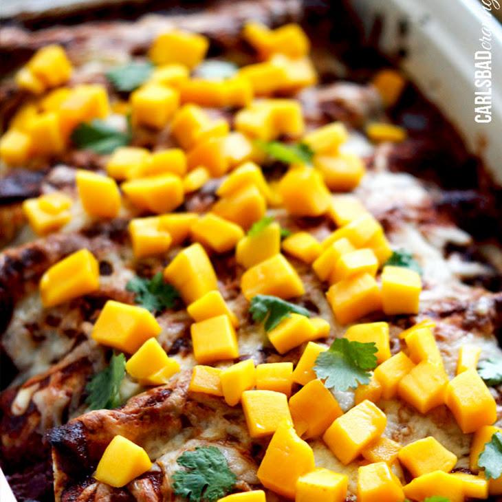 Chipotle Chicken, Mango and Black Bean Enchiladas Recipe | Yummly