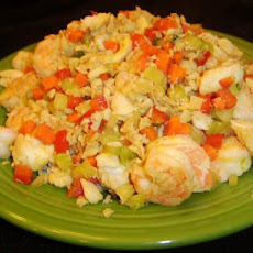 Curried Seafood and Vegetables over Rice