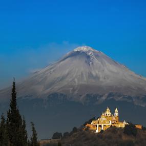 Volcano after Eruption by Cristobal Garciaferro Rubio - Landscapes Mountains & Hills ( ash, volcano, church, popo, mexico, puebla, popocatepetl, smoking volcano )