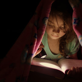 Secret Reader by Kate Gansneder - Babies & Children Children Candids ( reading, blanket, flashlight, book, read, night )