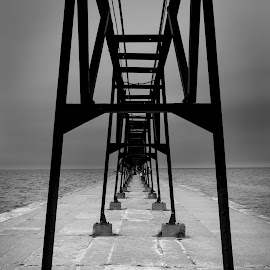 Tunnel of Darkness by Winterlyn Powell - Buildings & Architecture Bridges & Suspended Structures ( abstract, michigan, black and white, lake, bridge )