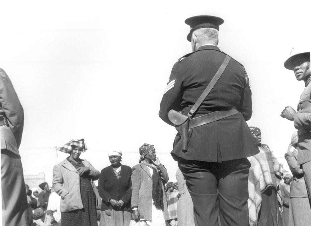 Polizeipräsenz während des Marsches