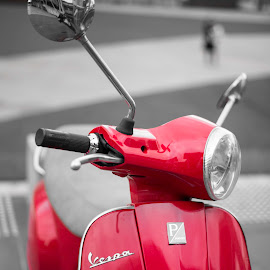 Moped by Rachel Morris - Transportation Motorcycles ( red, creative, black and white, artsy, artistic, moped )